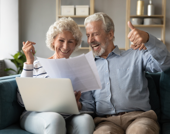 Elderly Couple Paying Bills